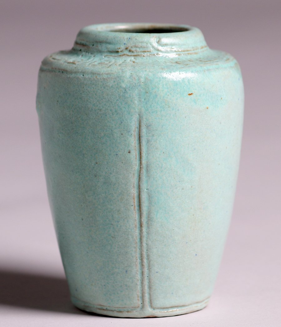 Arequipa Pottery Hand-Carved Blue Vase c1915