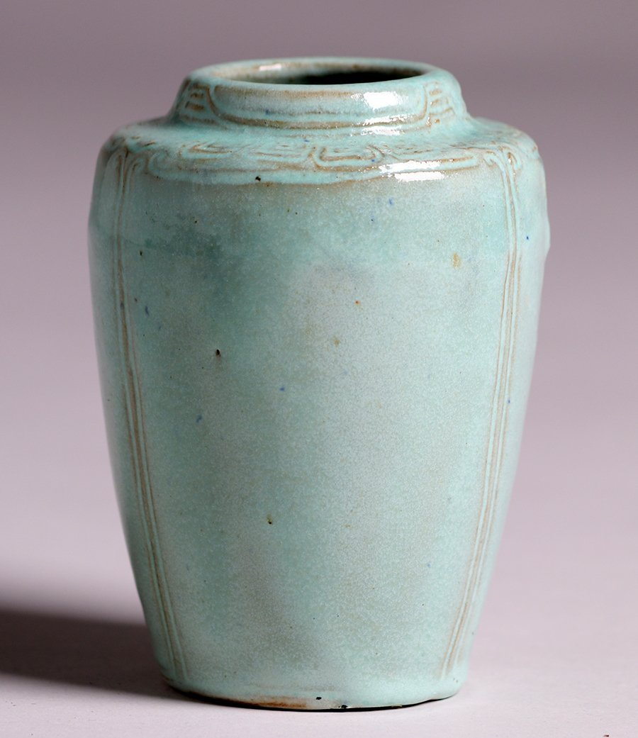 Arequipa Pottery Hand-Carved Blue Vase c1915 - 2