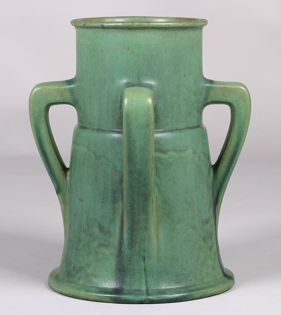 Large Teco Pottery Matte Green Four-Handle Vase