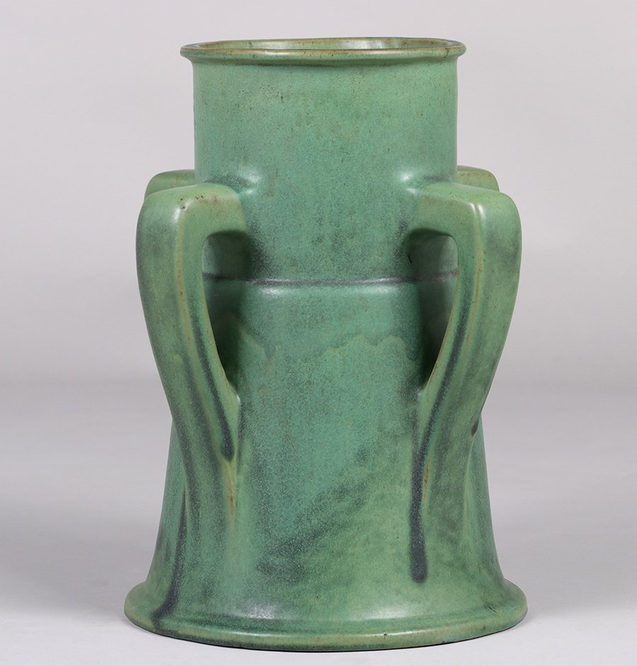 Large Teco Pottery Matte Green Four-Handle Vase - 2