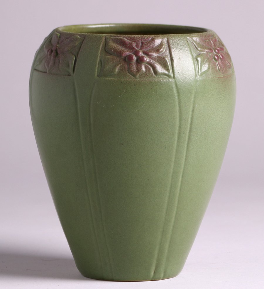 Early Van Briggle 1906 Matte Green Vase - 2