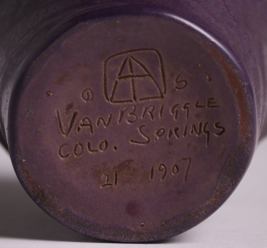 Early Van Briggle 1907 Matte Purple Vase #21 - 4
