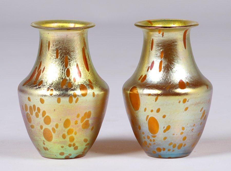 Pair Loetz Astraea Matching Glass Vases c1900