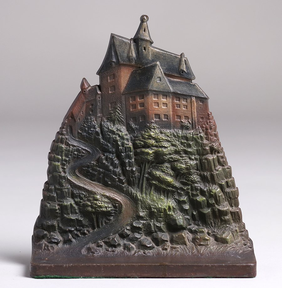 Bradley & Hubbard Cast Iron Castle on Hill Door Stop - 2