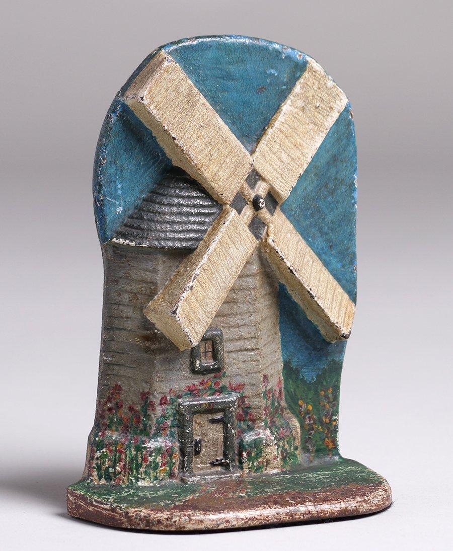 Dutch Windmill Cast Iron Door Stop c1910