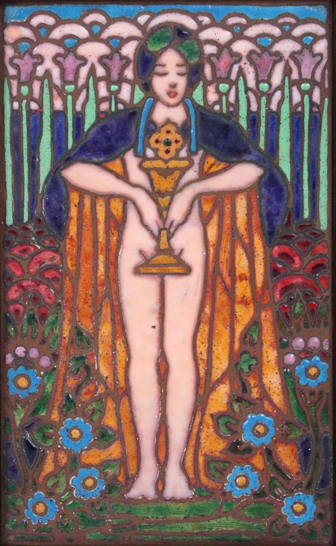 Enamel on Copper Plaque Pre-Raphaelite Woman c1910