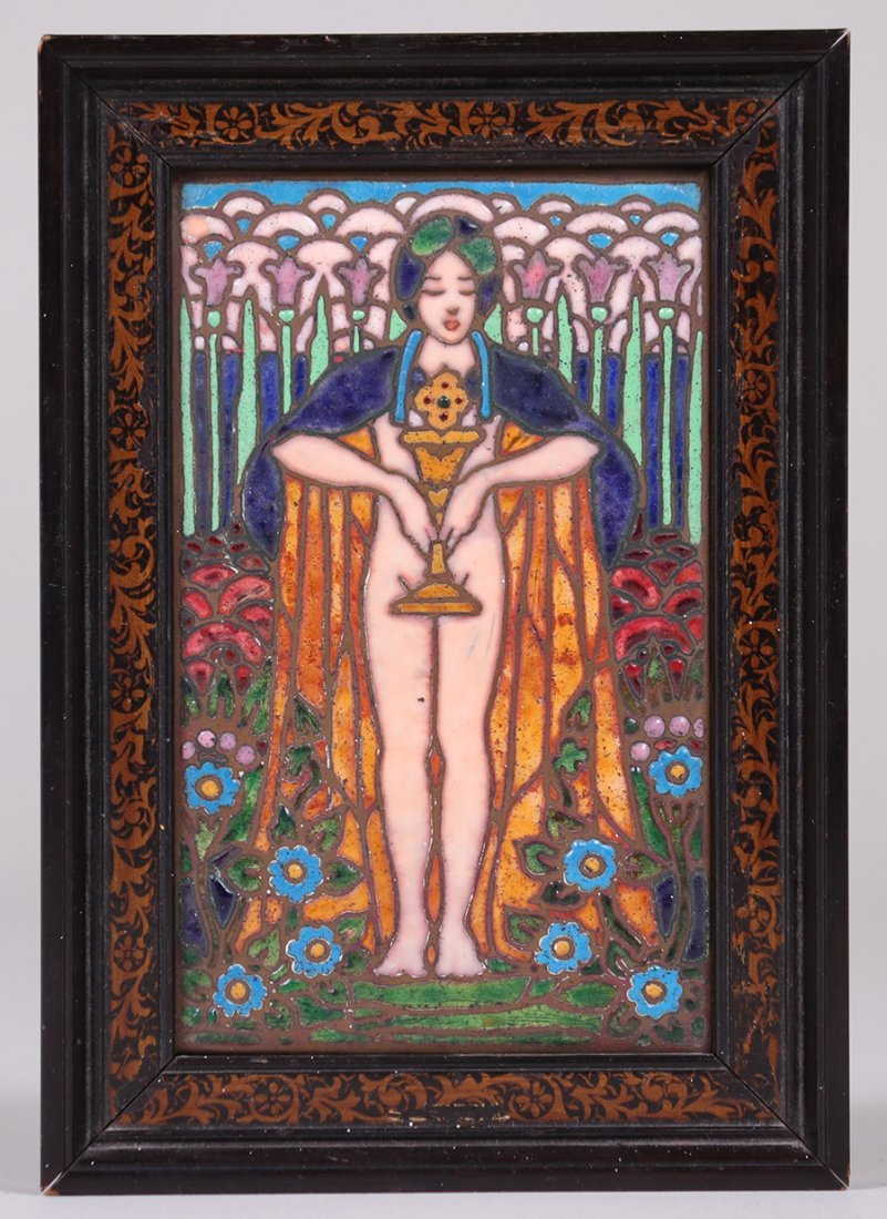 Enamel on Copper Plaque Pre-Raphaelite Woman c1910 - 2