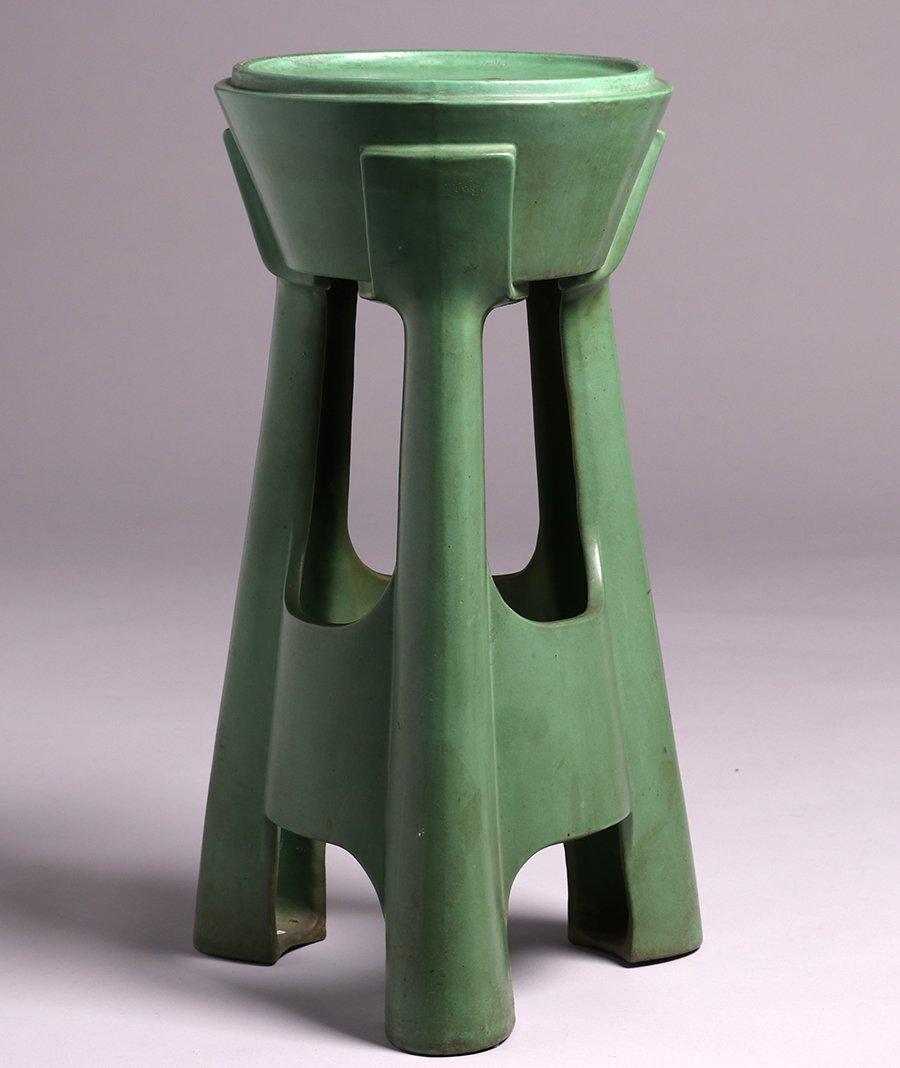 Roseville Matte Green Pedestal Base - 2
