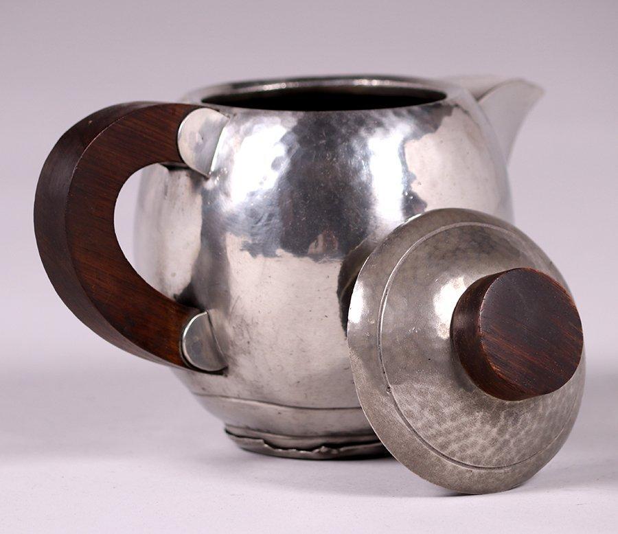 René Delavan French Art Deco Hammered Pewter Teapot - 2