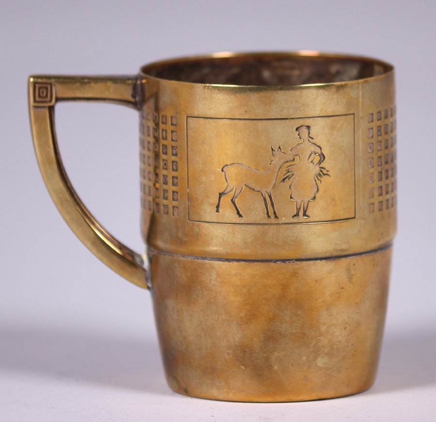 WMF German Arts & Crafts Brass Cup c1910s