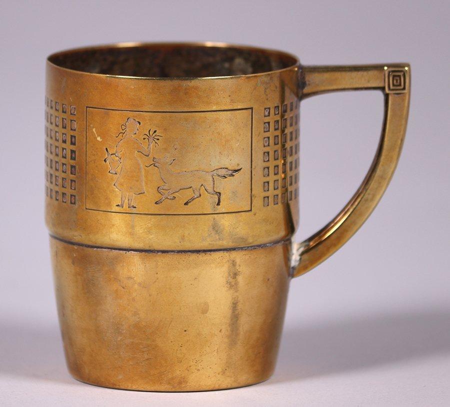 WMF German Arts & Crafts Brass Cup c1910s - 2