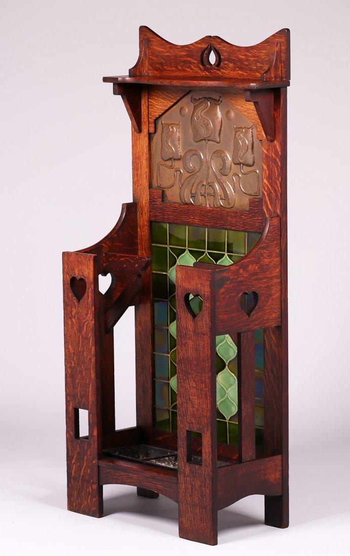 English Arts & Crafts Cutout Oak Umbrella Stand c1905