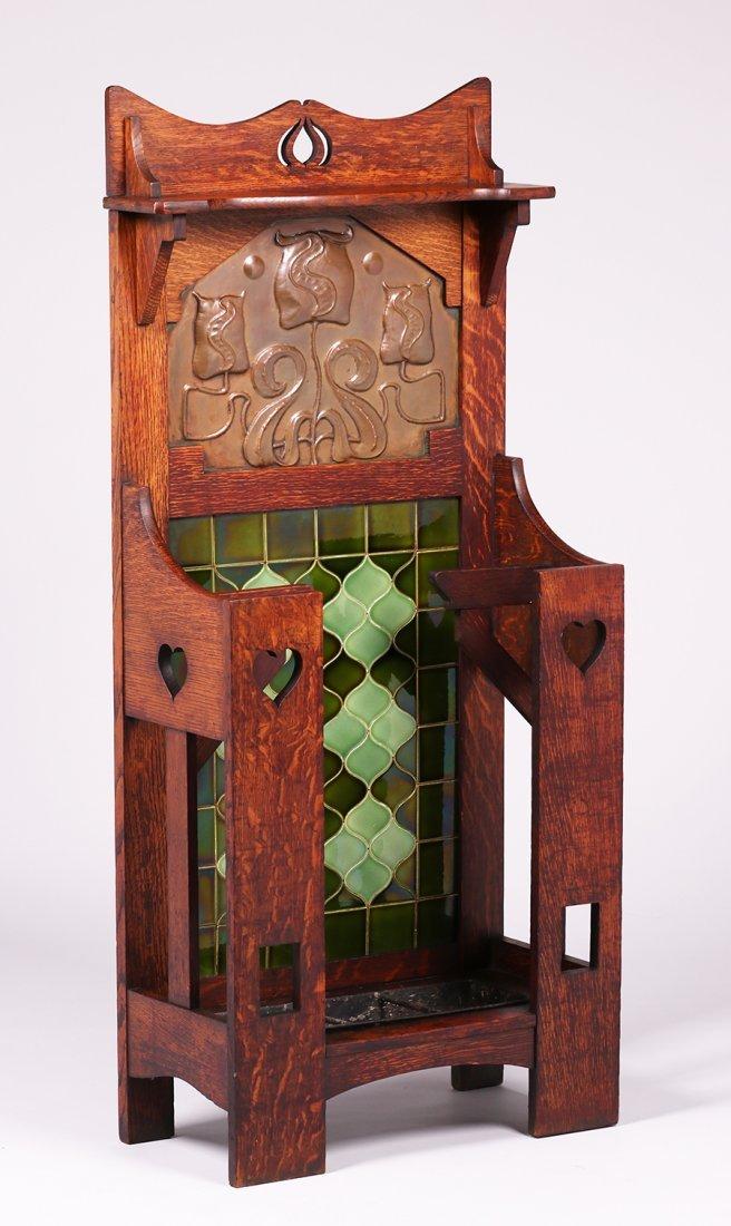 English Arts & Crafts Cutout Oak Umbrella Stand c1905 - 2