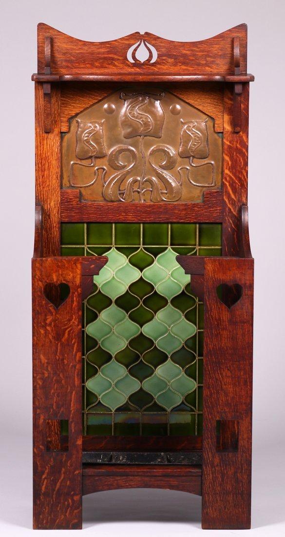 English Arts & Crafts Cutout Oak Umbrella Stand c1905 - 3