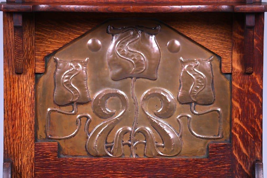 English Arts & Crafts Cutout Oak Umbrella Stand c1905 - 4