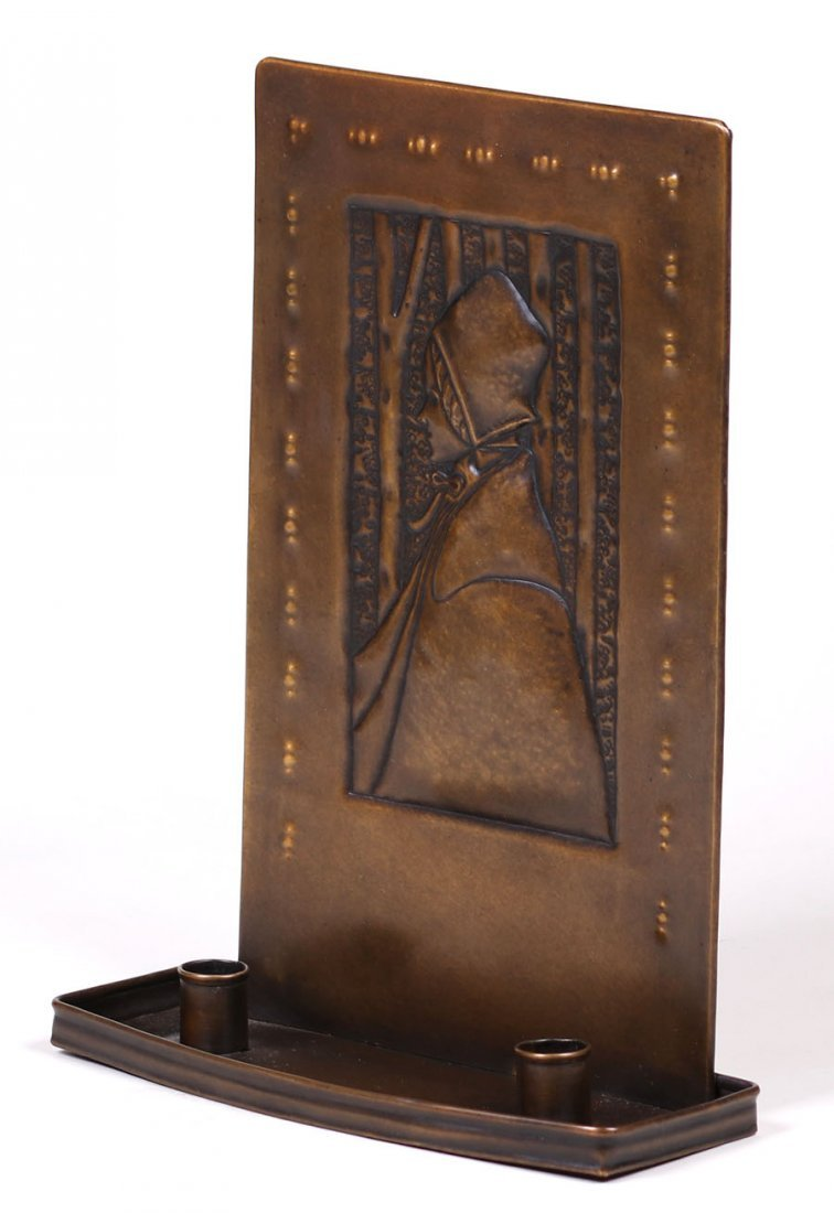Scottish A&C Hammered Brass Double Candle Sconce - 2