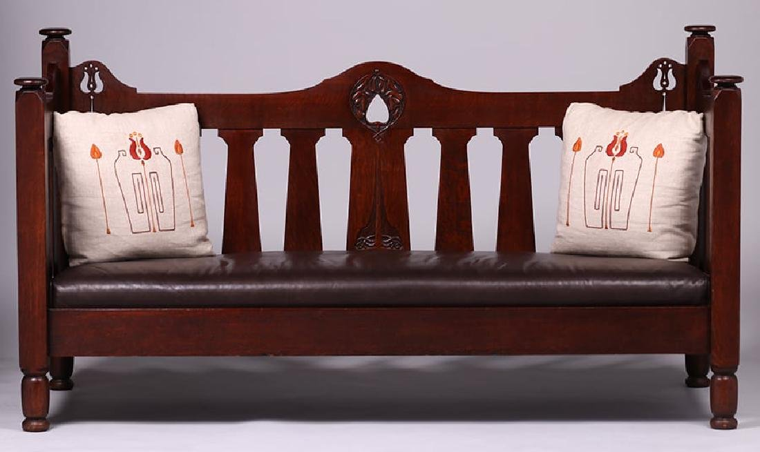 Early Stickley Brothers Hand-Carved Cutout Settle c1901