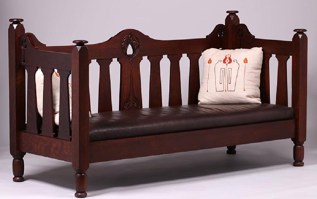 Early Stickley Brothers Hand-Carved Cutout Settle c1901 - 2