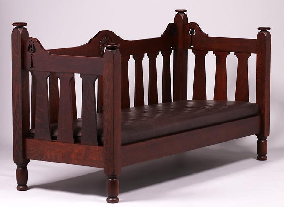 Early Stickley Brothers Hand-Carved Cutout Settle c1901 - 3