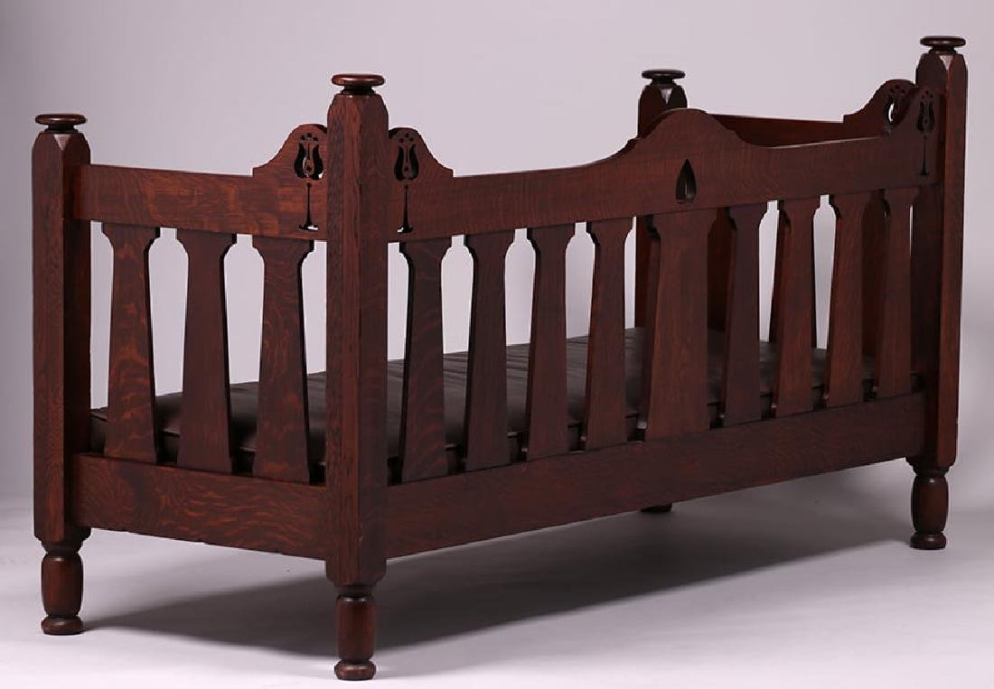 Early Stickley Brothers Hand-Carved Cutout Settle c1901 - 4