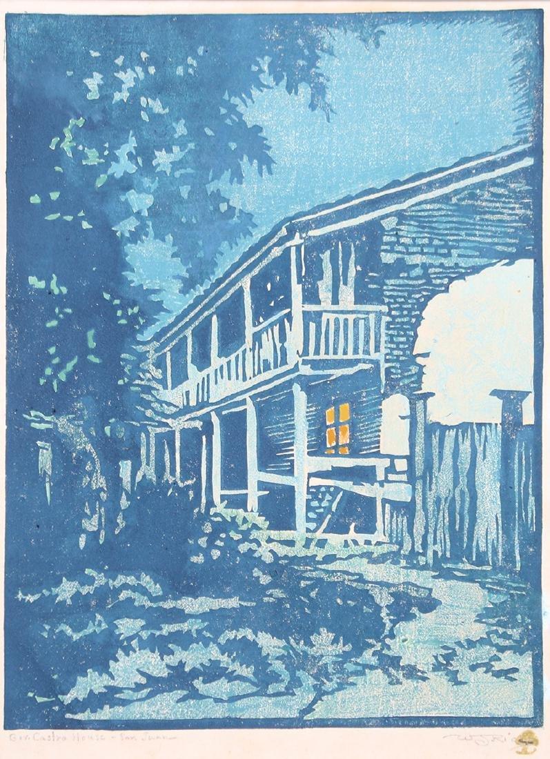 """William Rice Woodblock """"Gov. Castro House - San Juan"""""""