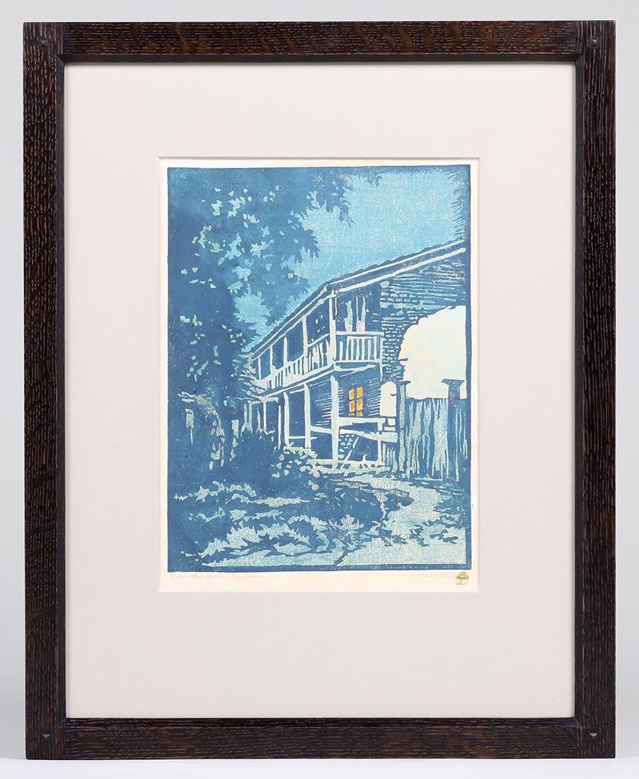 """William Rice Woodblock """"Gov. Castro House - San Juan"""" - 2"""