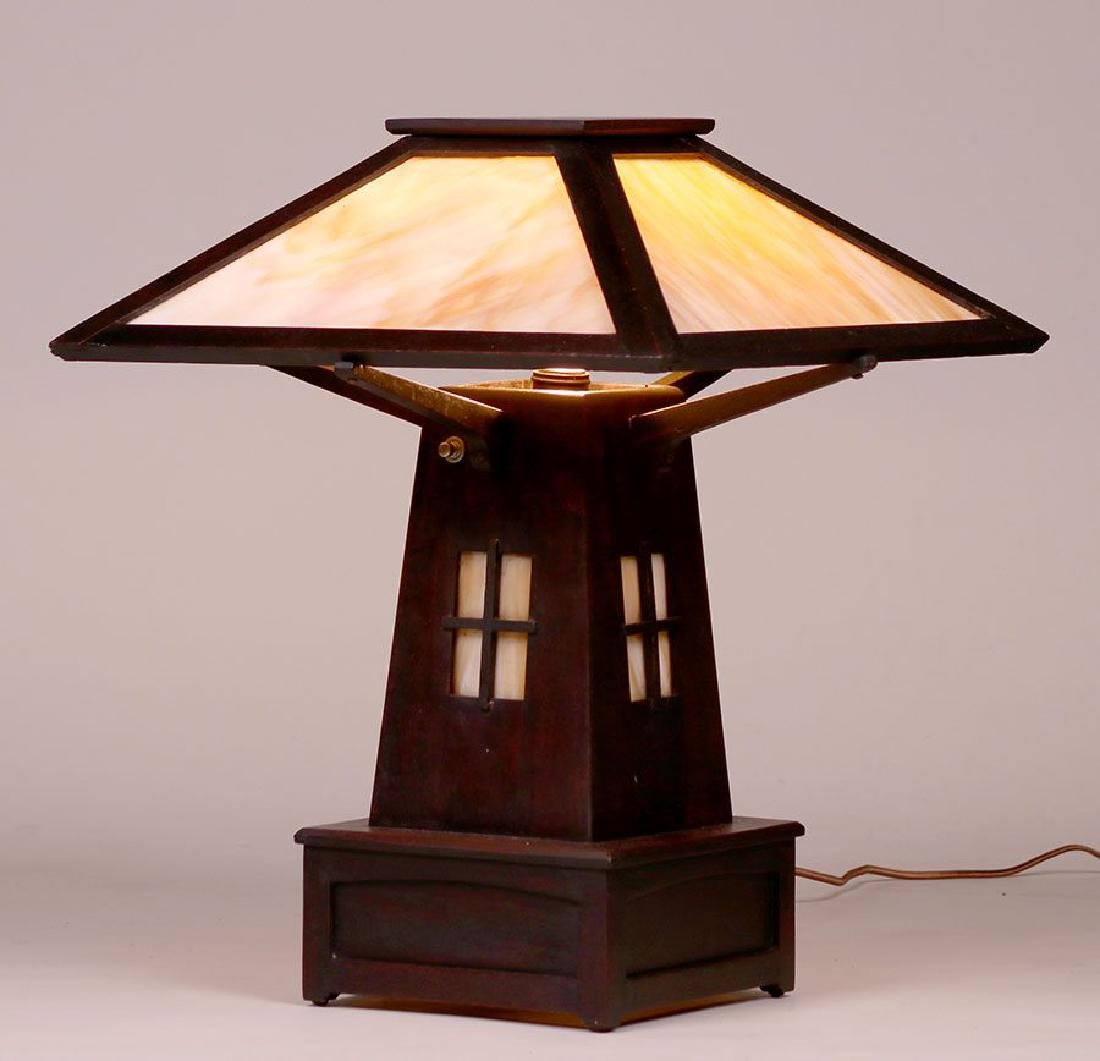 Arts & Crafts Mahogany & Slag Glass Cutout Lamp c1910