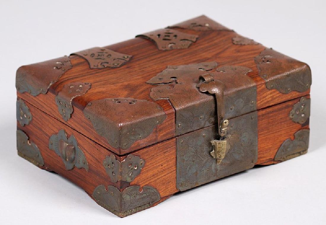 Antique Chinese Wood and Brass Box c1910