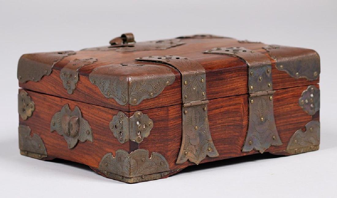 Antique Chinese Wood and Brass Box c1910 - 3