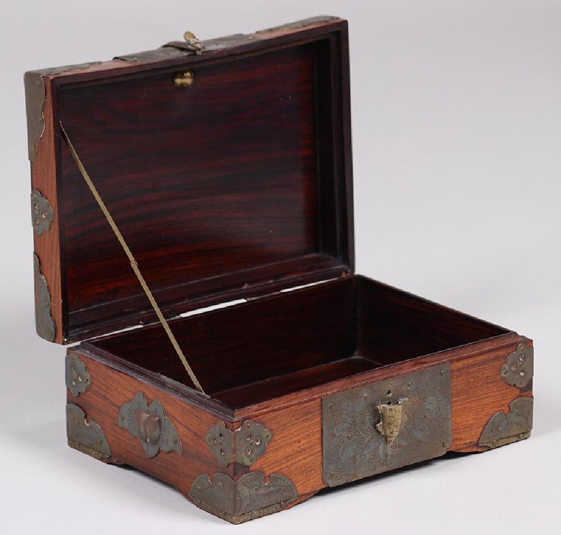 Antique Chinese Wood and Brass Box c1910 - 4