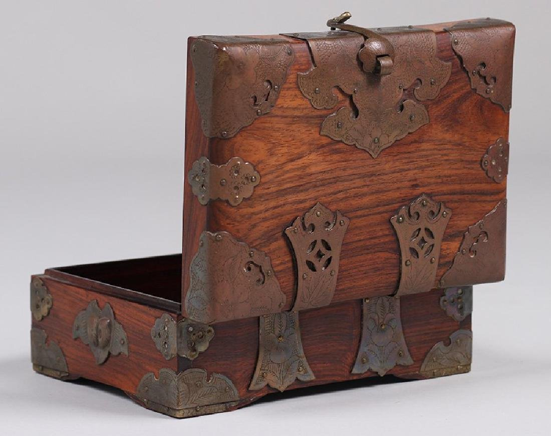 Antique Chinese Wood and Brass Box c1910 - 5