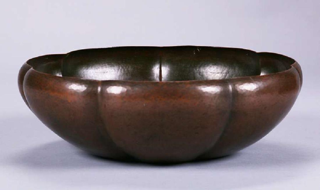 Large Dirk van Erp Hammered Copper 7-Sided Fruit Bowl