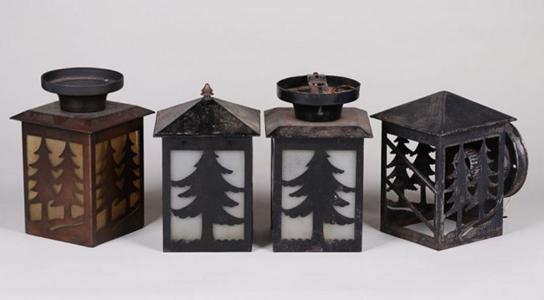 Lot of 4 Arts & Crafts Lanterns w/ Cutout Trees c1910