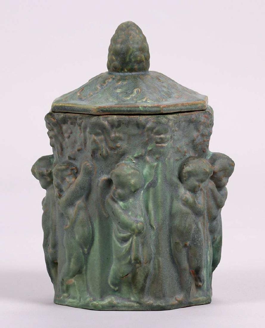 Atlantic Potter Stoneware Covered Figural Vase c1900