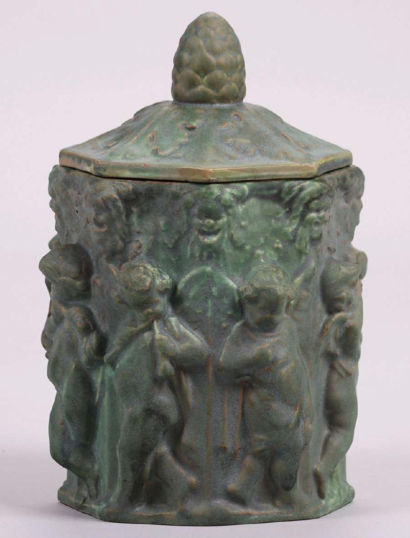 Atlantic Potter Stoneware Covered Figural Vase c1900 - 3