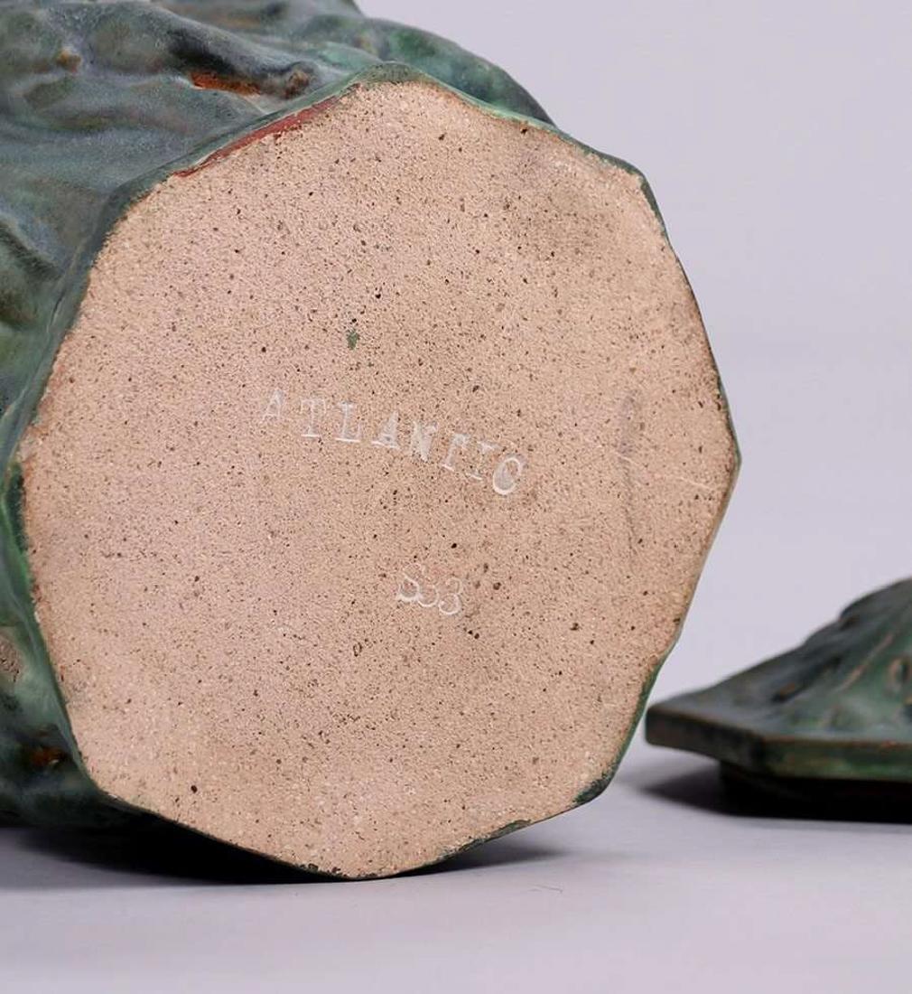 Atlantic Potter Stoneware Covered Figural Vase c1900 - 4