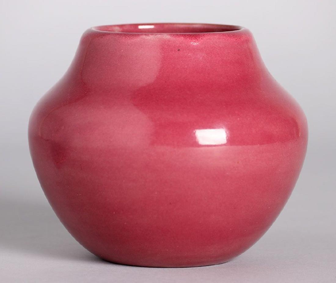 California Faience Olla-Shaped Burgundy Vase c1920s