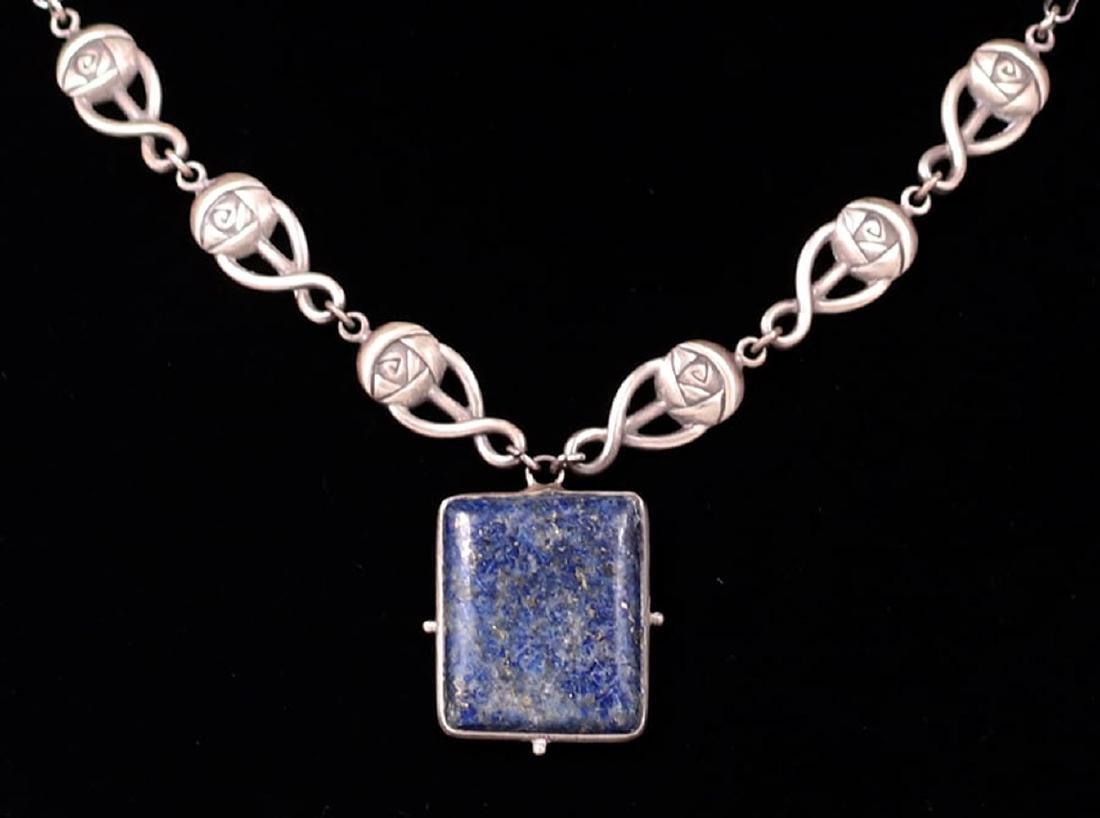 Scottish Arts & Crafts Sterling Silver & Lapis Pendant