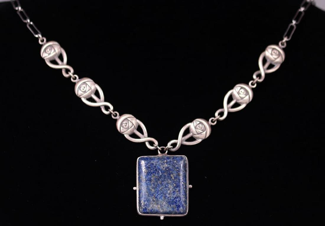 Scottish Arts & Crafts Sterling Silver & Lapis Pendant - 2