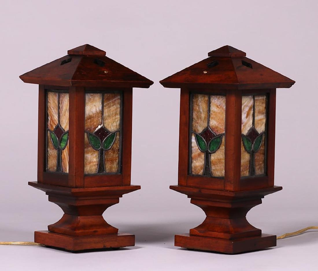 Pair Arts & Crafts Mahogany & Leaded Glass Newell Post