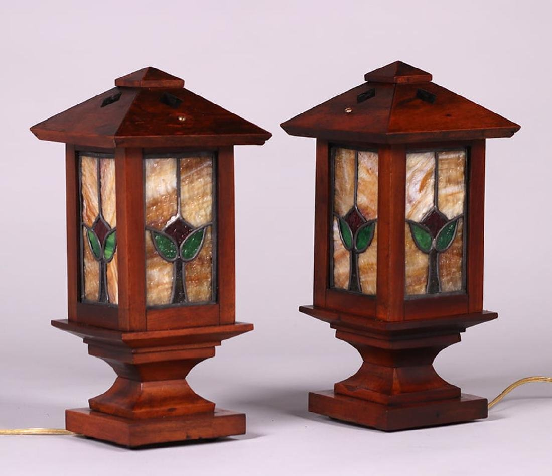 Pair Arts & Crafts Mahogany & Leaded Glass Newell Post - 2