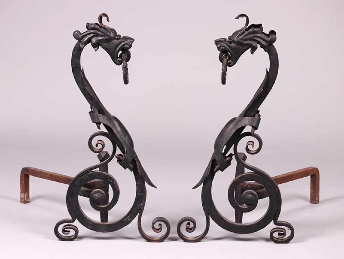 Arts & Crafts Hand-Forged Sea Serpent Andirons c1910