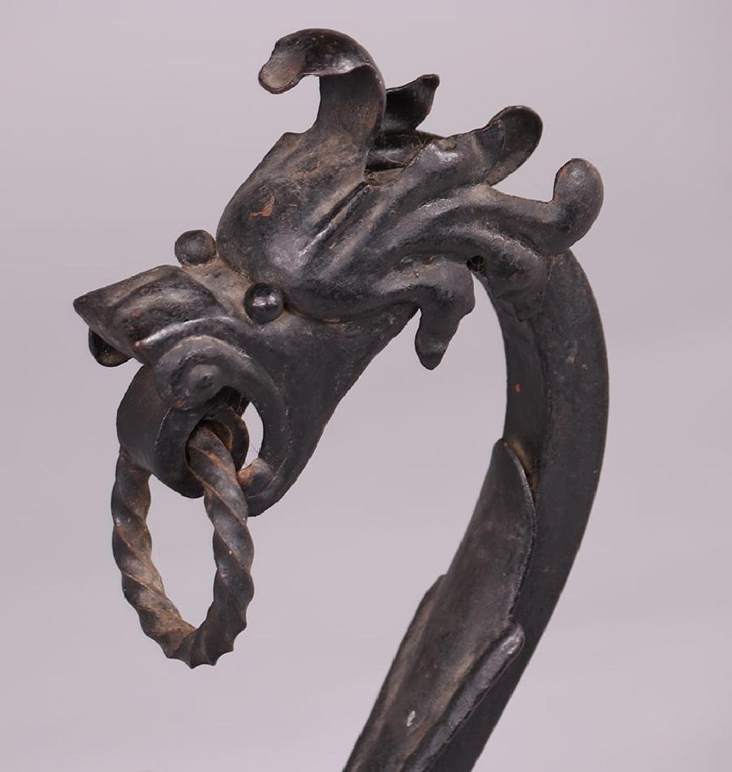 Arts & Crafts Hand-Forged Sea Serpent Andirons c1910 - 3