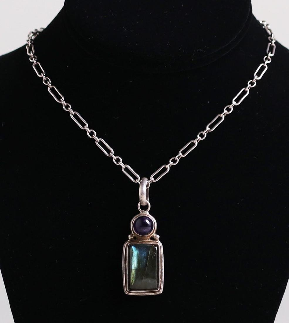 Arts & Crafts Sterling Silver Amethyst & Labradorite - 2