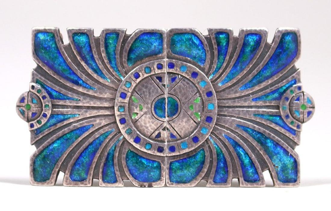 Liberty & Co Sterling Silver & Enamel Belt Buckle