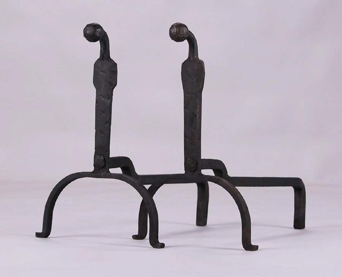 Arts & Crafts Hand-Forged Iron Andirons c1910