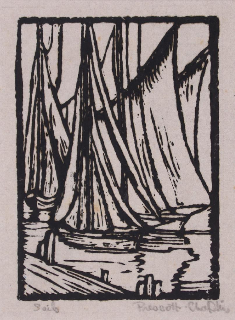 "Prescott Chaplin Woodblock Print ""Sails"""