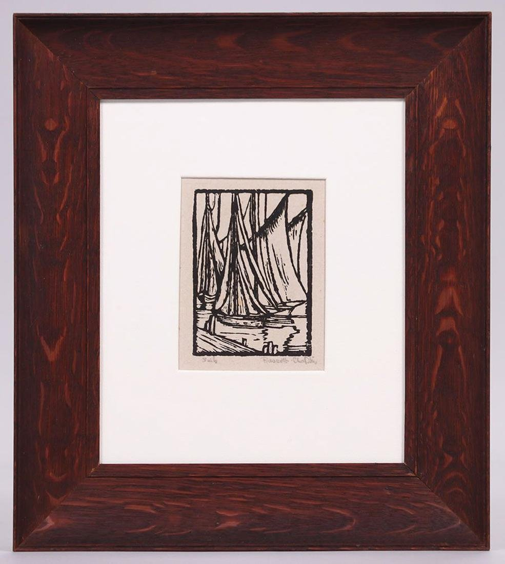 "Prescott Chaplin Woodblock Print ""Sails"" - 2"