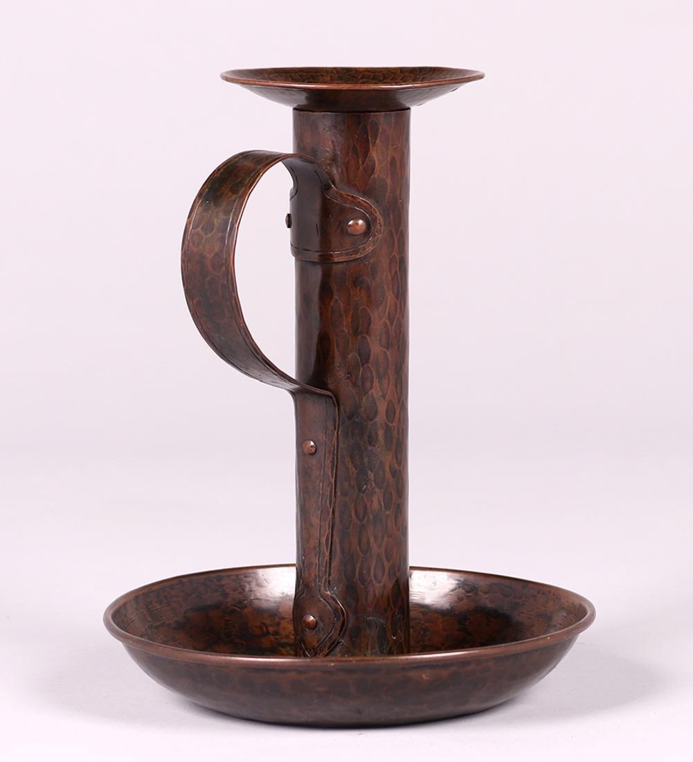 Gustav Stickley Hammered Copper Chamber Stick