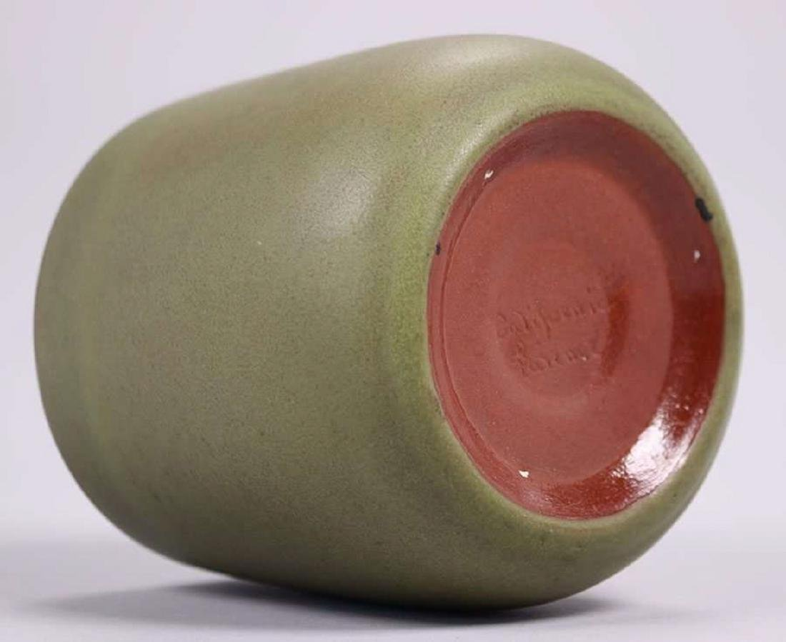 California Faience Tapered Matte Green Vase - 3